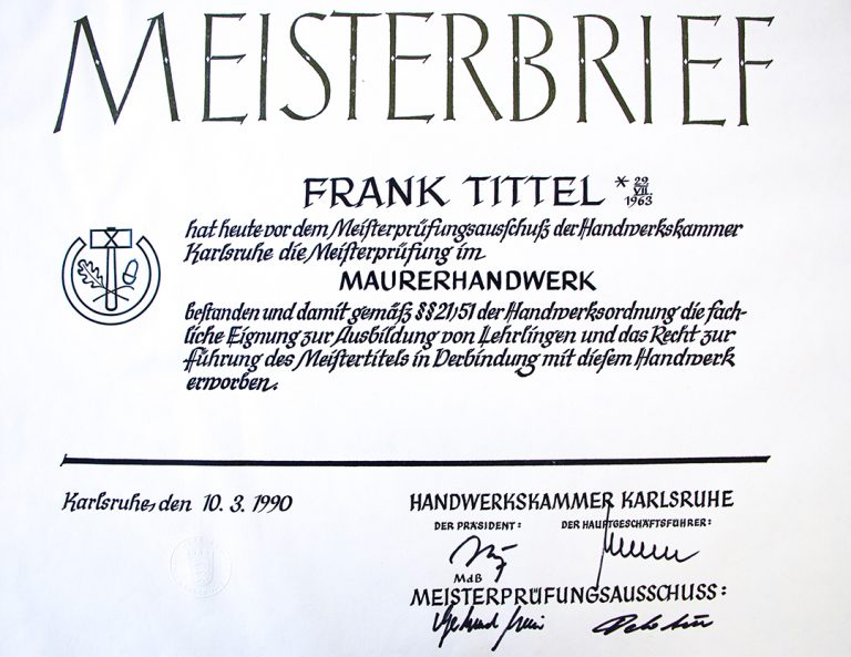 Meisterbrief 1990