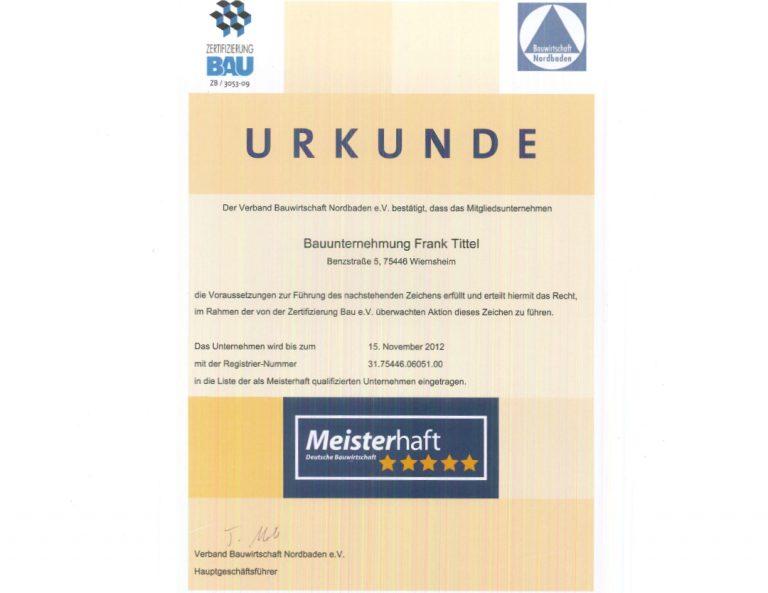 Meisterhaft Urkunde 2012