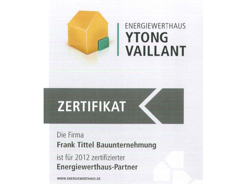 Zertifizierter Energiewerthaus-Partner 2012