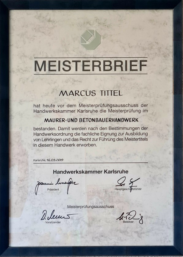 Meisterbrief Marcus